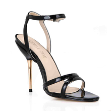 2016 Hot Sale Sexy Open Toe Women Sandals Ankle Strap Simple High Heels Sandals Stiletto Heel Strappy Summer Shoe Woman 3845C-3b great mixed color multi band sandals stiletto heel high quality sexy open toe shoes summer hot selling high heel sandals on sale