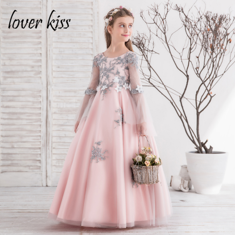 Lover Kiss vestidos comunion ninas Beauty Pink Long Sleeve Pageant Dresses For Child Party Wedding Flower Girl Ball Gowns 2018