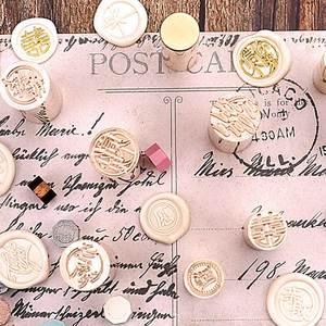 Image 5 - 1Pcs cylindrical sealing wax brass vintage envelope seal stamp card decoration with love envelop sakura thank you letter stamp
