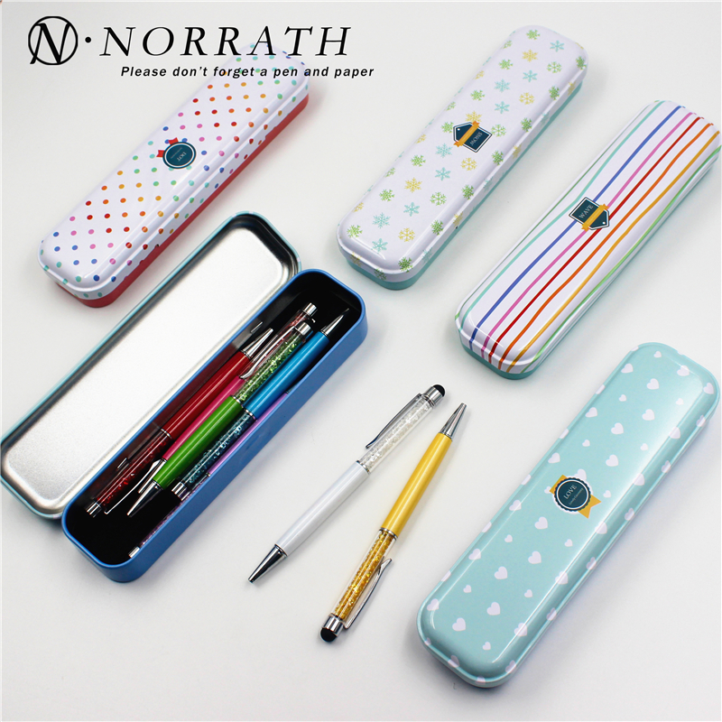 Beautiful Season Flowers Floral Series Dots Stripes Iron Metal Pencil Case For Pen Stationery Storage Box Korea Style Kids Gift