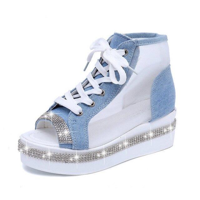 Мода 2016 женщин ПУ Джинсы, Туфли На Платформе Высота Увеличение Женской Обуви Горный Хрусталь Высокие Каблуки Обуви