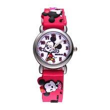 Disney бренда детская наручные часы Девушка Minica мультфильм 30 м водонепроницаемый кварцевые часы Размеров резиновые смотреть дети