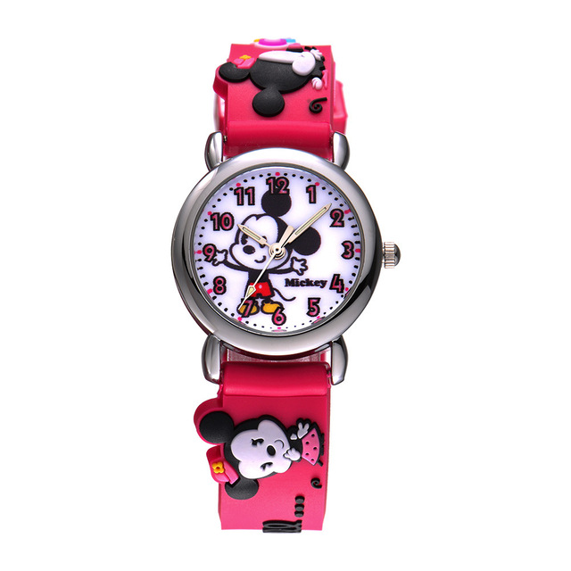 Disney brands children's wrist watch Girls Minica cartoon waterproof quartz girl watches rubber  kids clocks relogio