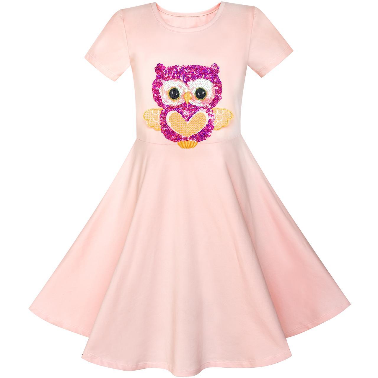 Girls Dress Misty Rose Owl Sequin Cotton Dress 2018 Summer Princess Wedding Party Dresses Kids Clothes Size 4-8 Pageant Sundress