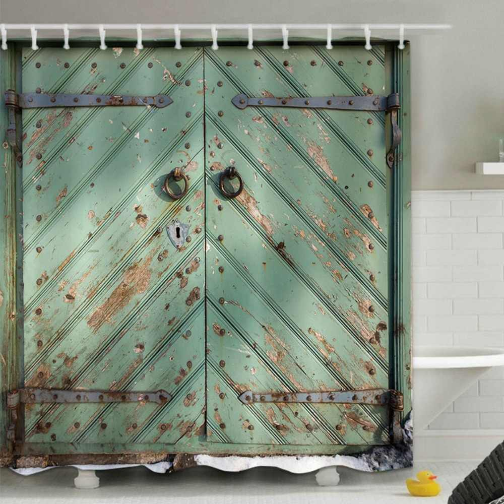 rustic wooden barn door shower curtain retro farmhouse bathroom screens waterproof extra long polyester fabric for bathtub decor