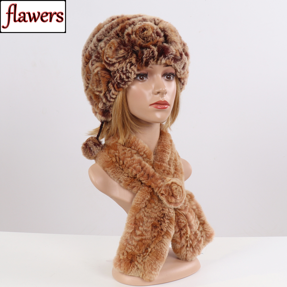 2019 Winter Knitted 100% Natural Fur Hats Scarves Sets Women Warm Real Rex Rabbit Fur Hat Scarf Genuine Fur 2 Pieces Cap Scarf