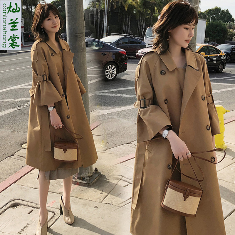 Fashion Windbreaker Female 2019 Spring Autumn New Korean Trumpet Sleeve Over The Waist Tie Slim Long   Trench   Coat for Women A1420