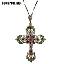 Fashion Ethnic Religious Jewelry Flower Cross Necklace Antique Gold Color Resin Women Sacred Spiritual Symbol Pendant Necklace