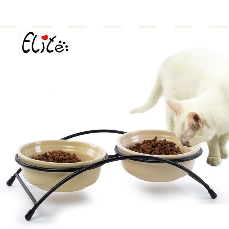 Double Ceramics Dog Cat Puppy Pet Bowl Print Fish and Paw Food Dish Non Slip Food Water Dual-use Feeding Dish Pet Supplies