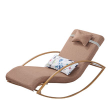 Comfortable Relax Metal Rocking Chair Chaise Lounger With Upholsterd  Cushion Living Room Furniture Lounge Rockign Swing