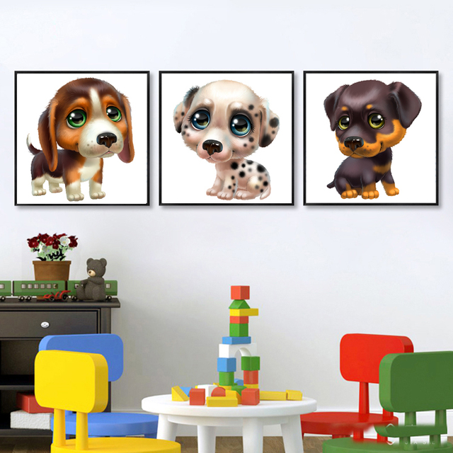 lovely animal painting 3 piece cute dog canvas art cartoon puppy wall pictures baby kids bedroom