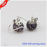 Pure 925 Sterling Silver Women Earrings With Purple Pink Pave Crystal Ball DIY Making Jewelry Group