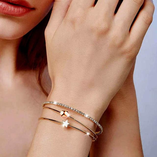 SINLEERY proste 3 warstwy bransoletka Set Rose złoto srebro kolor kobiety moda CZ kamienie Lucky Star bransoletka mankiet Sl257 SSI