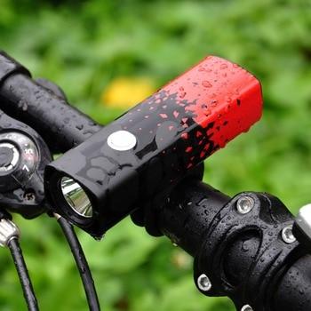 Farol de bicicleta Recarregável USB LED-T6 Frente À Prova D' Água Luz 5 Modos Lâmpada Equitação Ciclismo MTB Acessórios Da Bicicleta Lanterna