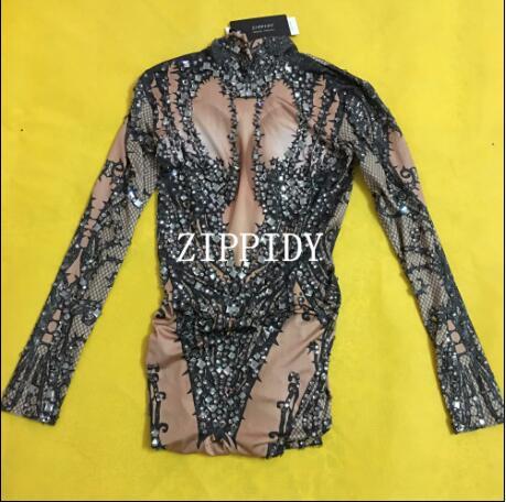 Fashion Hollow Black Crystals Stretch   Jumpsuit   Sexy Nightclub Bar Dance Wear Bodysuit Leggings Performance Clothing