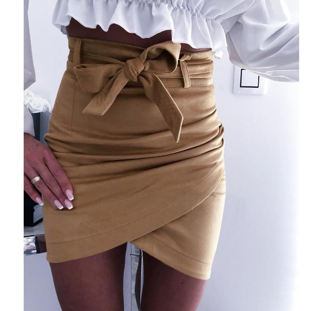 Hot Selling New 2019  Womens Summer Bowknot Solid Mini Beach Skirt