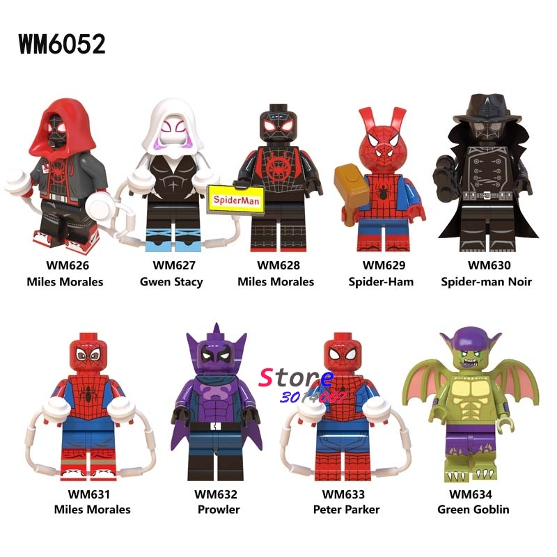 50pcs Marvel Movie Spiderman Into Spider Verse Spider Ham Miles Morales Prowler building block for children
