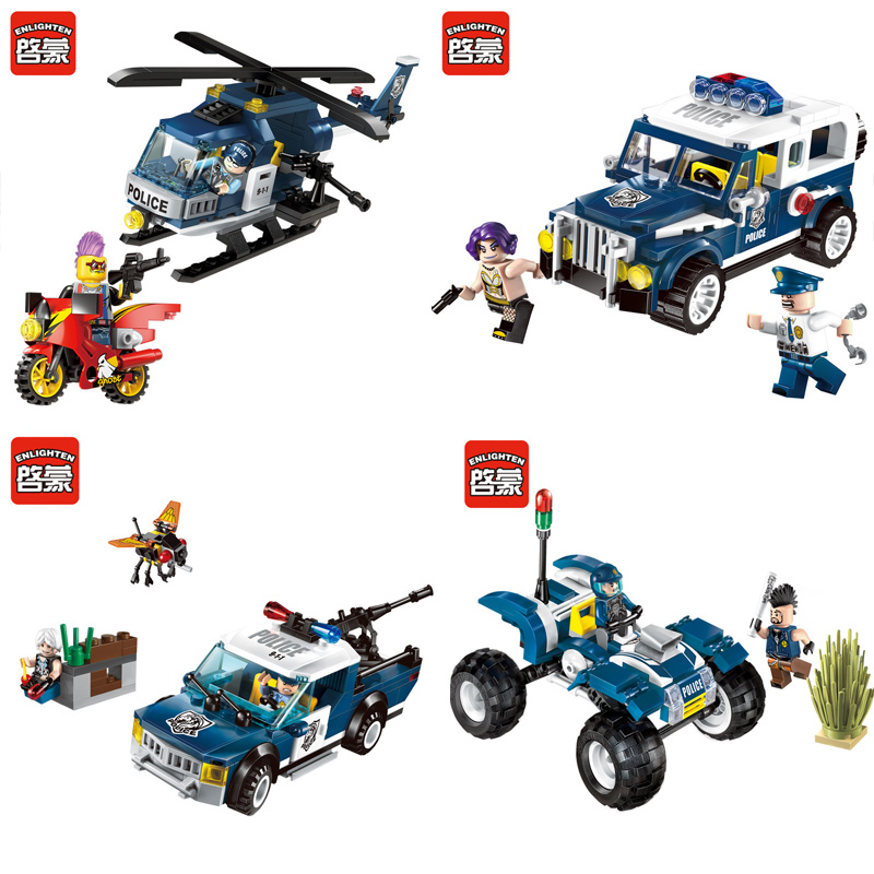ENLIGHTEN SimCity Police SWAT Helicopter Car SUV Patrol Attack Model Building Blocks Figure Toys For Children Compatible Legoe
