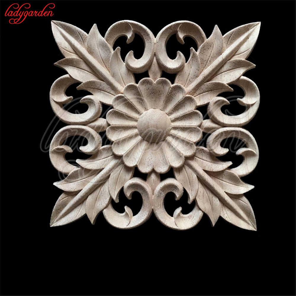 Decorative Wood Appliques Wood Carving Frame for Furniture Cabinet Door Nautical Home Decor Wooden Figurine Flower Pattern Carve