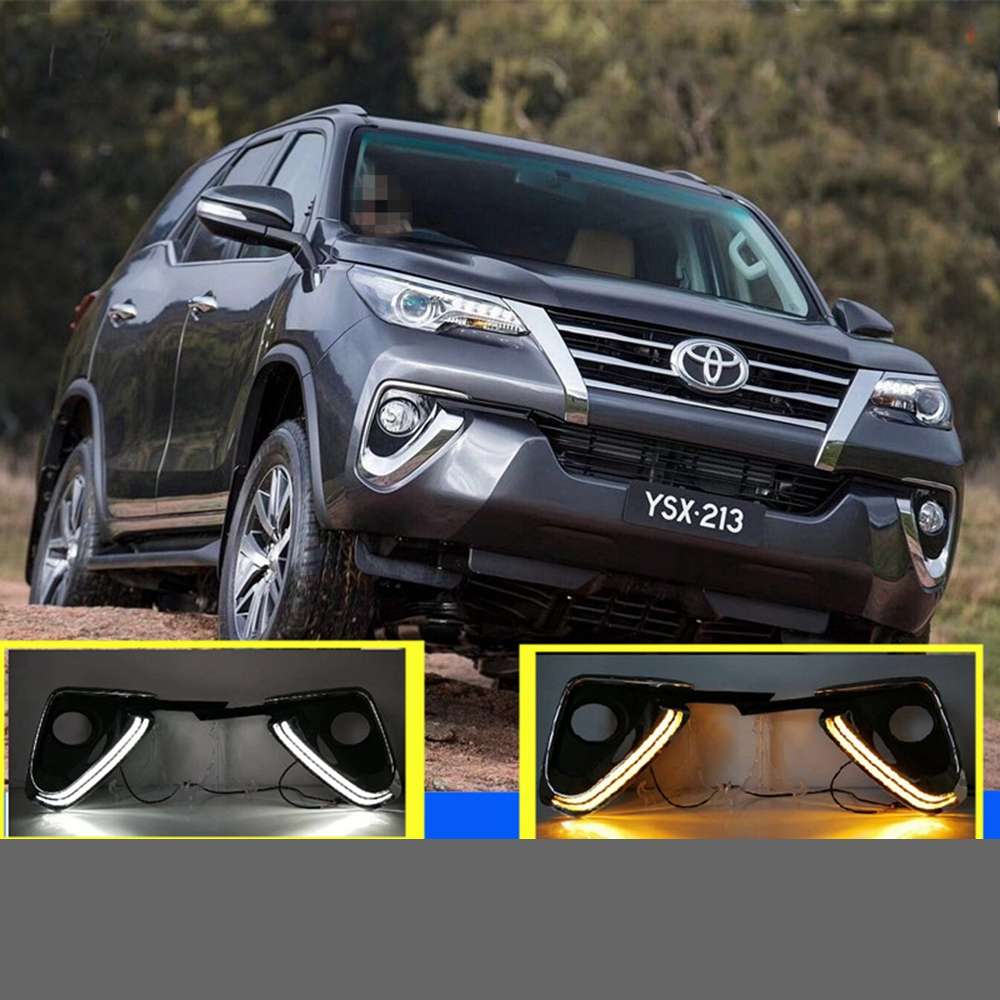 SHCHCG For Toyota Fortuner 2015 2016 2017 Daytime Running Lights Led Front Fog Lamps Lights With Yellow Turning Signal Function led strip headlights front lamps fit for toyota corolla altis 2014 2015 2016 head lamps with turn signal lamps