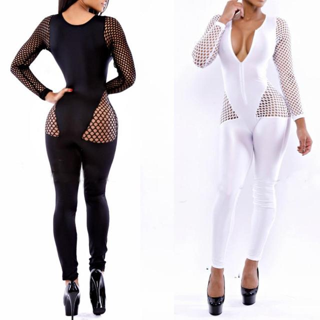007d125202 Rompers Womens Jumpsuit Macacao Female New Women Sexy Fishnet Panel Long  Sleeve Bandage Jumpsuit Bodysuit Catsuit Overall 4056