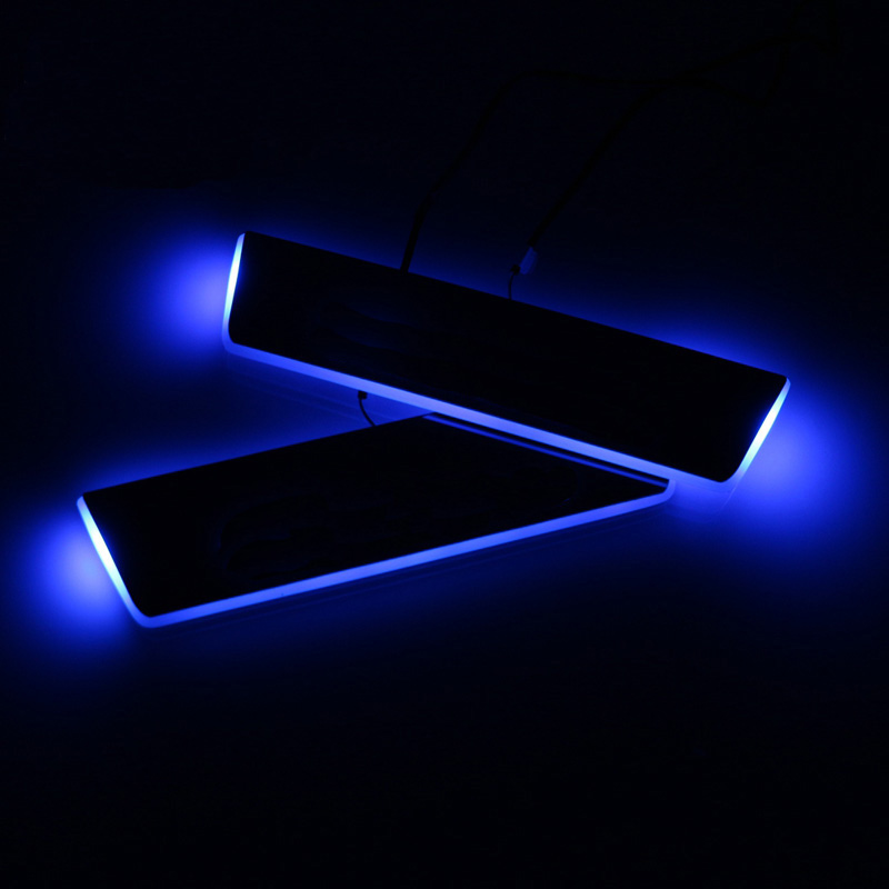 SNCN LED Car Scuff Plate Trim Pedal Door Sill Pathway Moving Welcome Light For Hyundai Tucson 2015 2016 Badge Emblem Acrylic in Interior Mouldings from Automobiles Motorcycles