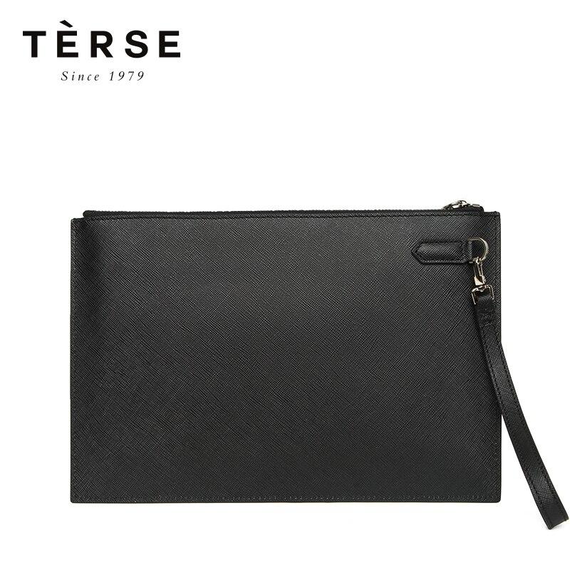 TERSE 2018 новые сумки для мужчин из натуральной кожи Клатчи с гравировкой тонкие большие вместительные сумки 5 цветов винтажные сумки DT0401 - 5