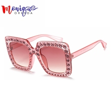 Fashion Women Sunglasses for sale Brand Glasses Big Frame Crystal Square Diamonds Oversize Sunglasses