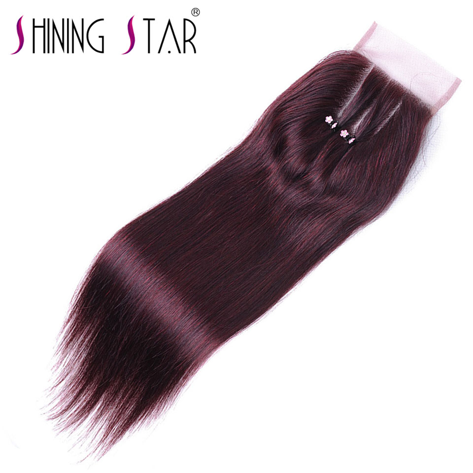 Burgundy Straight Hair Closure 3 Part Thick 4X4 Lace Closure 120% Density Shining Star Non Remy Peruvian Red Human Hair Weave