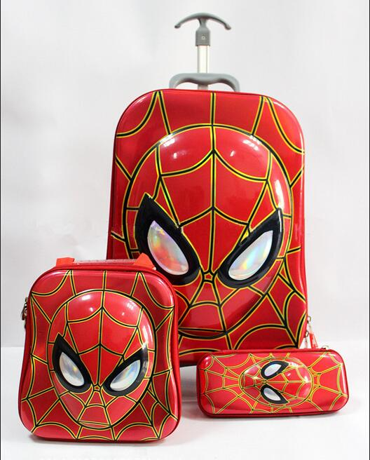 ФОТО Free shipping  new kids luggage red spider man 16 inch travel suitcase sets (lunch box + pen boxes+trolley luggage )