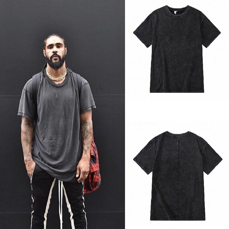 Hombres Enzyme Wash Retro camiseta de gran tamaño verano 2018 Streetwear Hip Hop camisetas hombres de algodón Simple Fat Top Tee