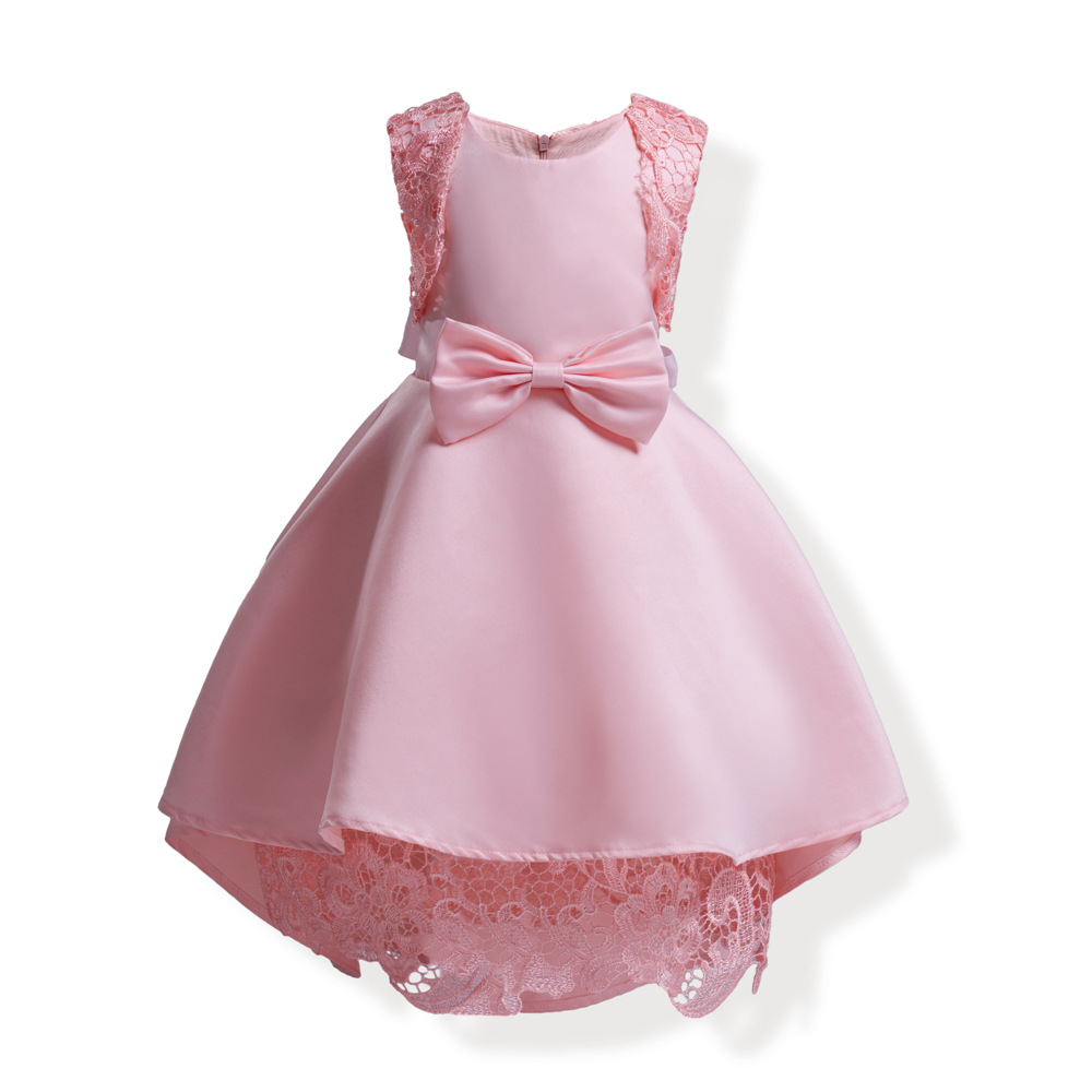 b845d5c457fa bow lace ball gown little baby girl party dress sleeveless pink blue  princess girls dresses for ...