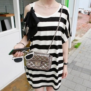 new summer womens T shirts knitted stripe maternity dresses pregnancy dresses maternity clothing summer clothing 16589