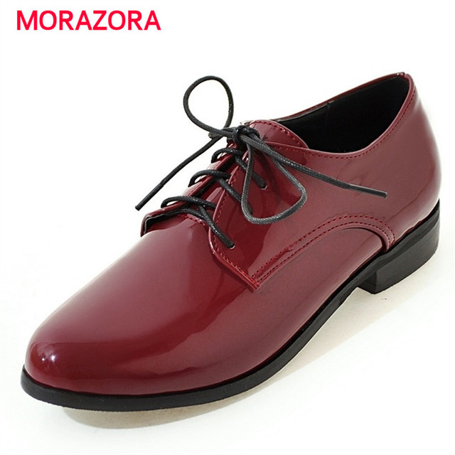 MORAZORA Fashion casual shoes women round toe lace-up flats shoes big size 30-50 party shoes solid pu spring autumn