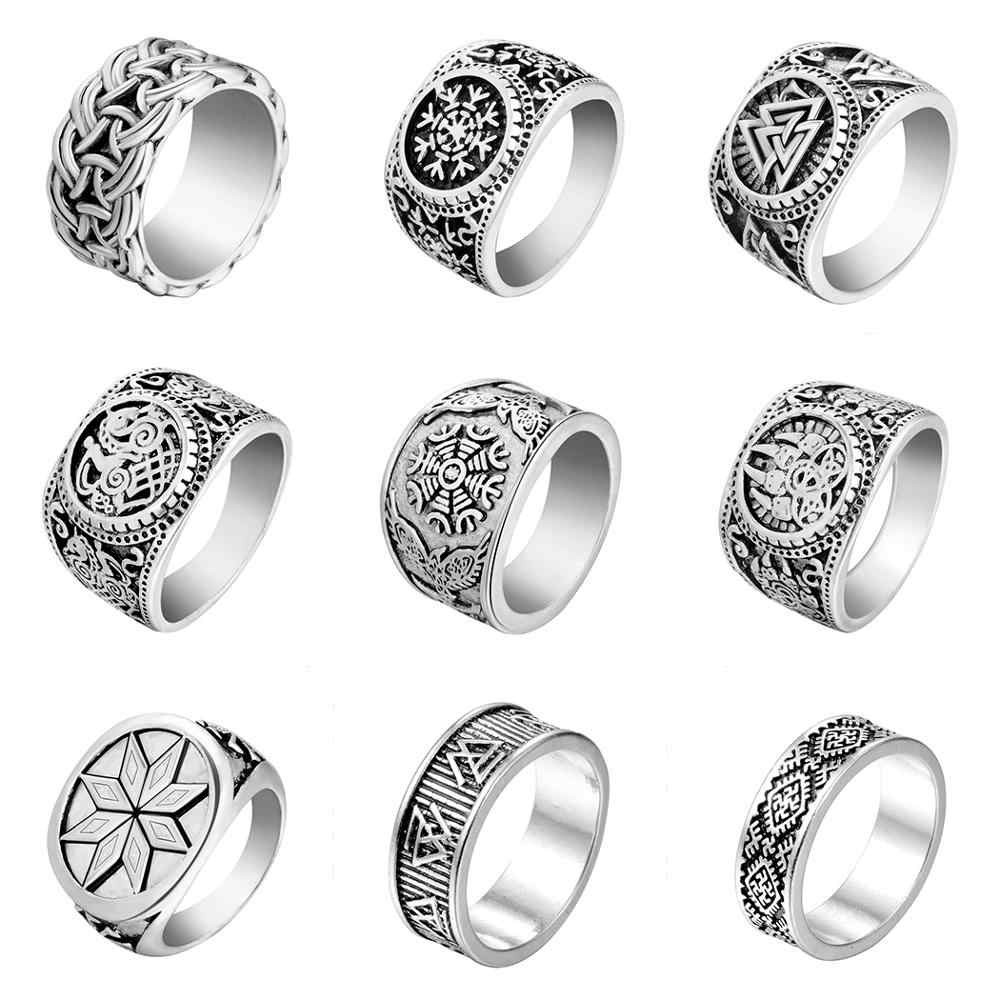 Chereda Gothic Slavic Man's Ring Antique Silver Male Noric Viking Runes Thumb Rings Vintage Trendy Jewelry