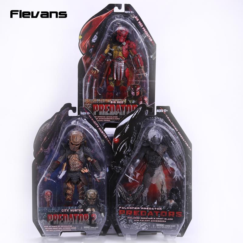 NECA Predators 2 City Hunter Big Red Falconer Predator PVC Action Figure Collectible Model Toy 7 18cm neca a nightmare on elm street 3 dream warriors pvc action figure collectible model toy 7 18cm kt3424