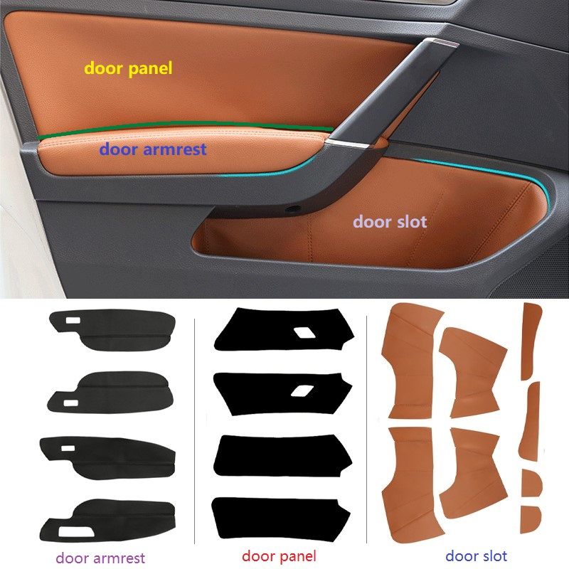 Image 2 - LHD For VW Golf 7 2014 2015 2016 4pcs Car Door Armrest Panel Microfiber Leather Protection Cover Trim-in Armrests from Automobiles & Motorcycles