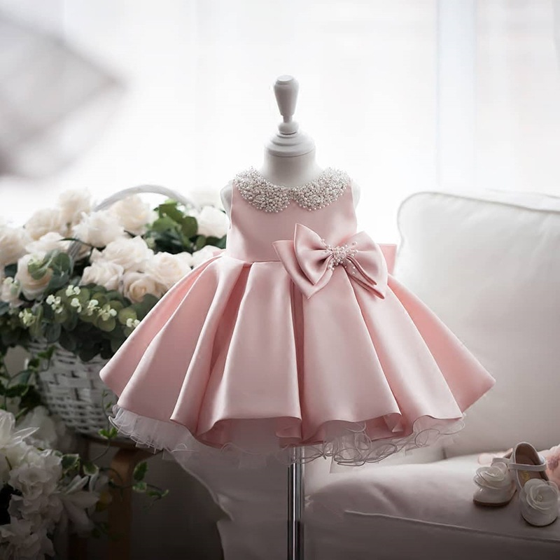 Children's Princess Bun Dress Dinner Party Evening Dress Girl Birthday Party Dress New Beaded Bow Flower Dresses For Wedding