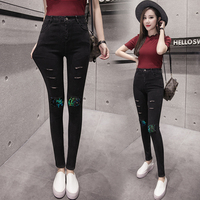 Black Jeans Pants Women 2017 Skinny Trousers Ladies Vintage Hole Ripped Pencil Slim Sequined Jeans Good quality Denim Pants