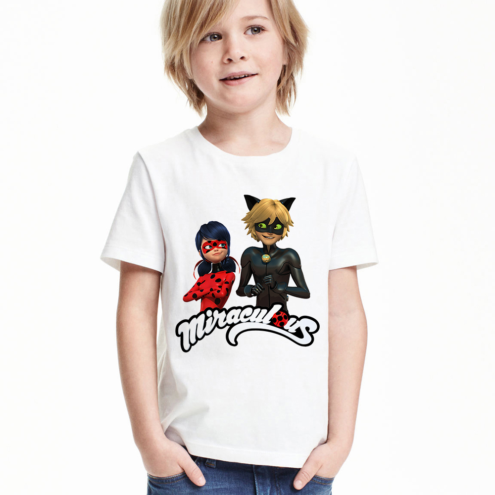Lady Bug Cat Noir Children Boys T-shirt Miraculous Ladybug Kids Girl T Shirt Toddler Cartoon Funny Tshirt Baby Summer Clothes kids miraculous ladybug cat noir cosplay miccostumes costume with mask ladybug black romper bodysuit halloween tight jumpsuit