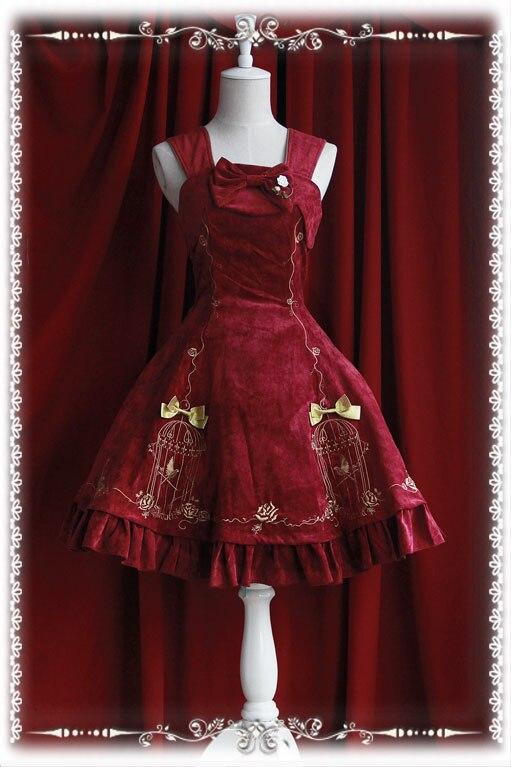 Le roi et les rossignols imprimer Lolita robe broderie JSK filles robe quotidienne tenue de fête d'halloween