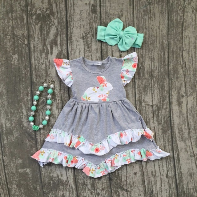 ad47c7413 new arrival Easter cotton design baby girls kids boutique children clothes  grey bunny floral dress set sleeve match accessories