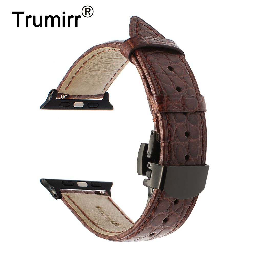 Genuine Crocodile Leather Watchband for iWatch Apple Watch 38mm 42mm Band Croco Strap Steel Butterfly Buckle Belt Wrist Bracelet цена 2017