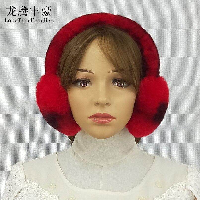 Mujeres invierno flor orejeras piel de conejo Real caliente orejeras  encantadora Earlap ruso Piel de hembra felpa orejera piel Natural 8b0a4592dba