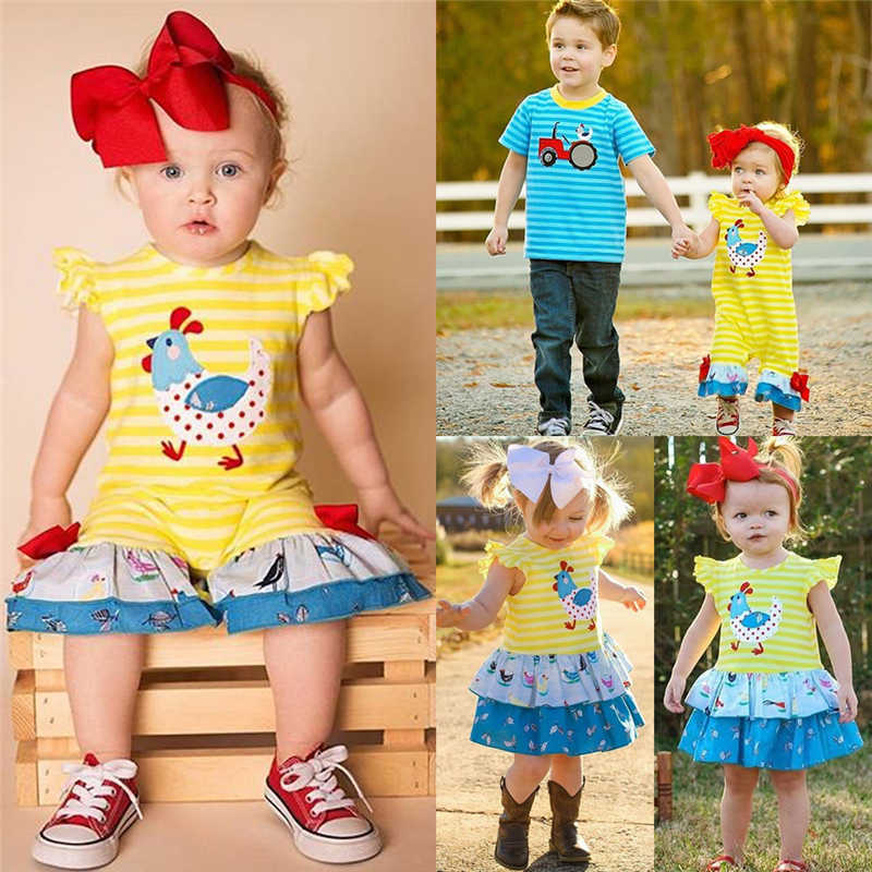 2019 Summer Matching Kid Baby Girl Boy Big Little Sister Brother Stripe Romper Dress T-Shirt Farm Style
