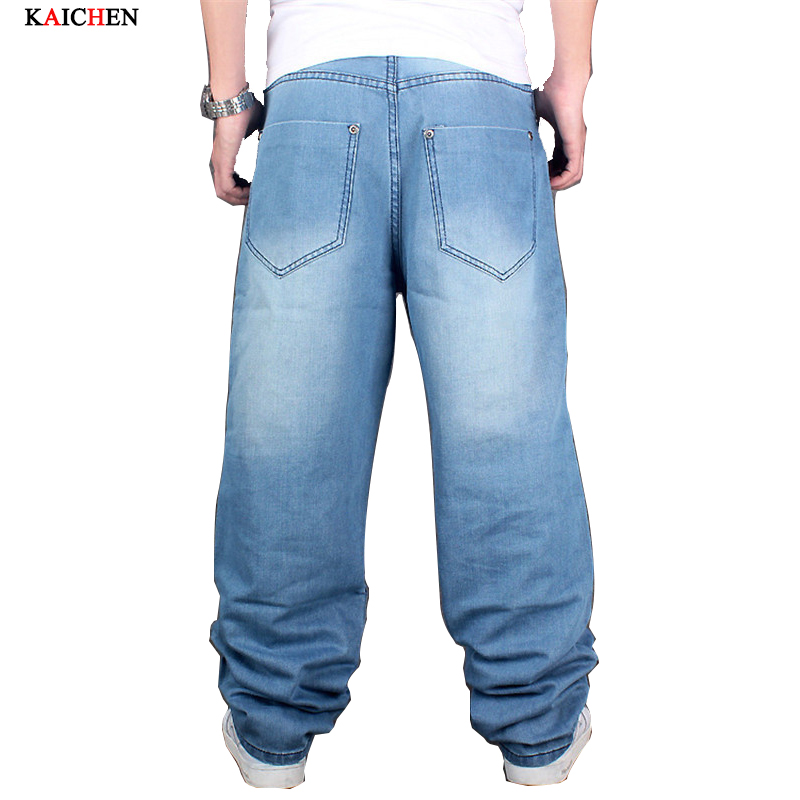 ФОТО 2016 New High Quality Fashion Men Hip hop Jeans  Baggy Jeans Loose Pants Color Blue Skateboard Jeans Size 30-46