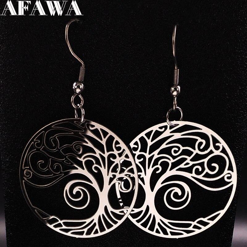 2019 Fashion Stainless Steel Tree Of Life Drop Earrings Women Silver Color Bohemian Earrings Jewelry Pendientes Mujer E612509