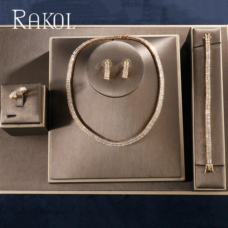 RAKOL 新結婚式のデザイン高級キュービックジルコニアブライダルイヤリングリングネックレス花嫁のために設定女性 RS02454  グループ上の ジュエリー & アクセサリー からの ジュエリーセット の中 1