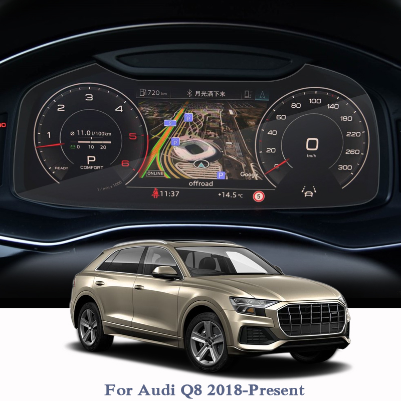 Car Styling GPS Navigation Screen Film For Audi Q8 2018-2020 Dashboard Glass Display Screen Film Climate Control Auto Accessory