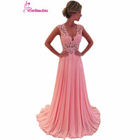 Cheap Evening Dresses 2016 Long New Charmming V Neck Floor Length Chiffon With Top Lace Summer